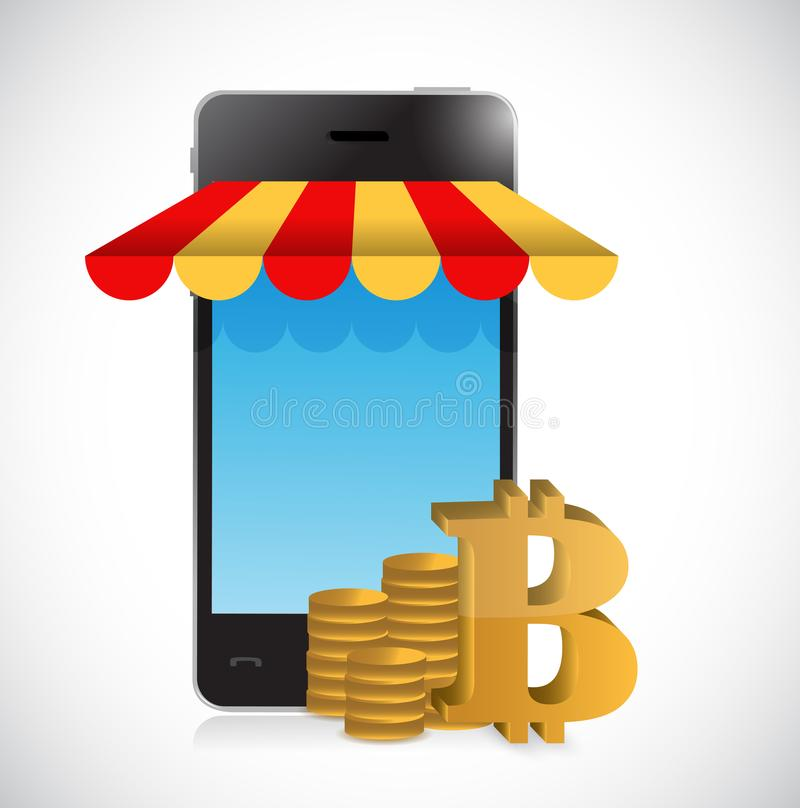 magasin mobile en ligne d'achats de bitcoin illustration libre de droits