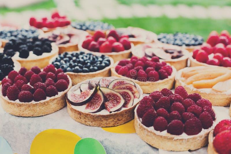 Magasinet för frukt- och bärtartsefterrätten sorterade utomhus arkivfoto
