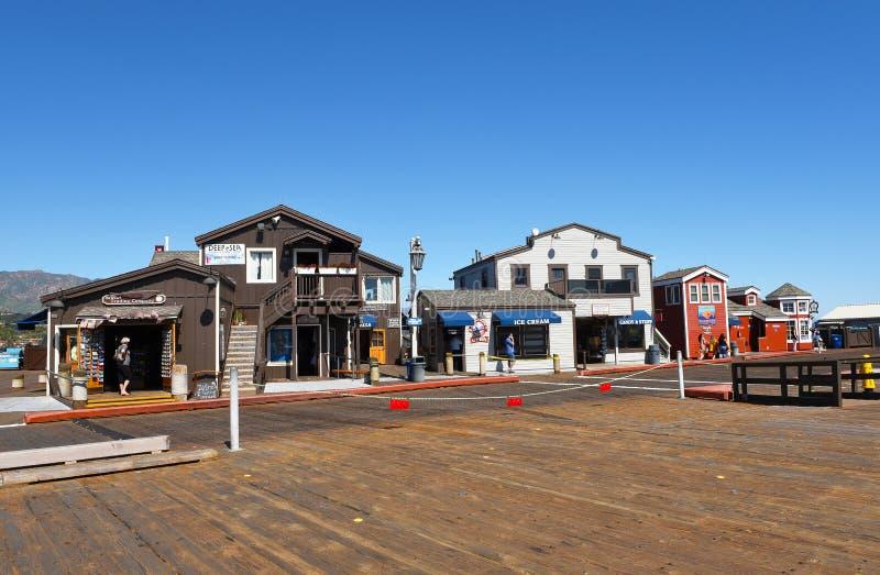 Magasins sur le quai Santa Barbara de Stearns images libres de droits