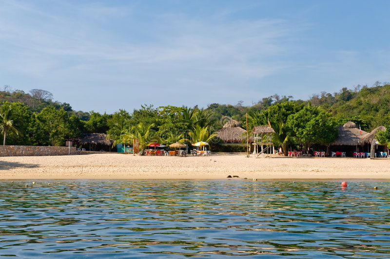 Magay Bay Huatulco Mexico. Scenic view of resort beach of Magay Bay, Huatulco coast, Mexico stock photography