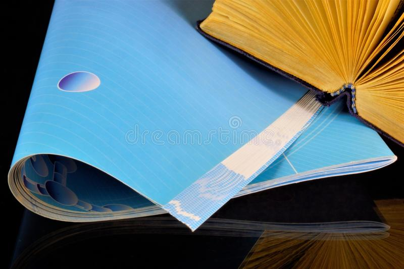 Magazine and book - a type of printed products, a source of important knowledge. The book is a literary or scientific work,. Consists of separate sheets, which royalty free stock images