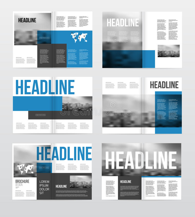 Magazine or catalog template vector illustration. Brochure design set. Cover with photo and text royalty free illustration