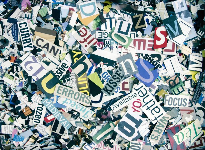 Magazine confetti background random letters and words royalty free stock photos