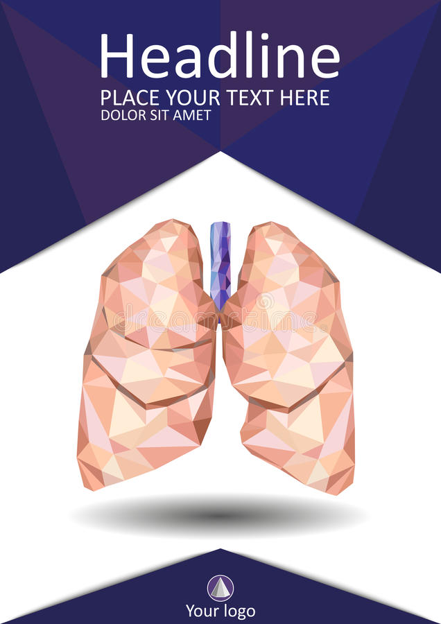 Magazine Cover Design With Low Poly Human Lungs. Stock Vector ...