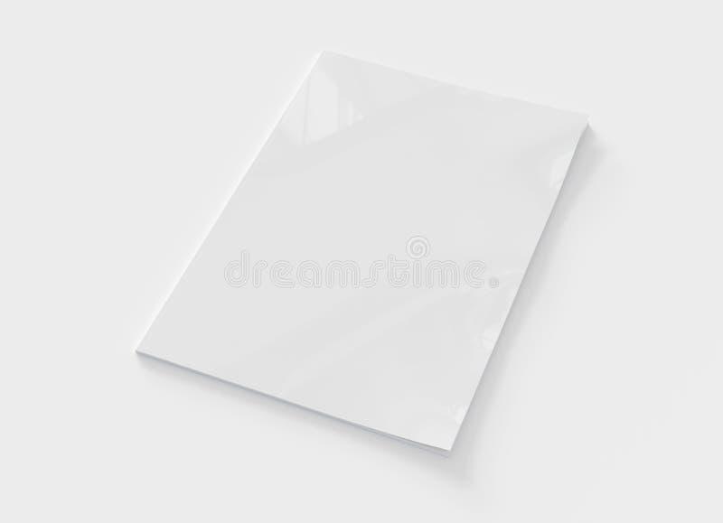 Magazine cover mockup isolated on white background 3d rendering. Magazine soft cover mockup isolated on white background 3d rendering royalty free illustration