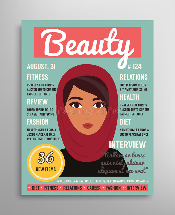 Magazine cover template about beauty, fashion and health for arab muslim women. Vector illustration.  vector illustration