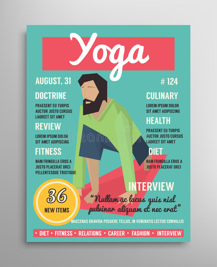 magazine cover template yoga blogging layer health sport. Black Bedroom Furniture Sets. Home Design Ideas