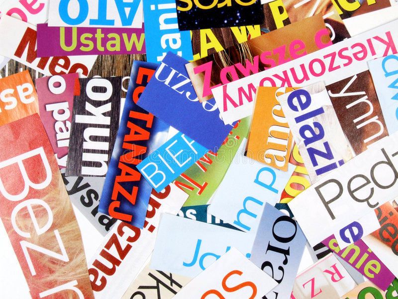 Magazine cuttings - incomplete words stock photography