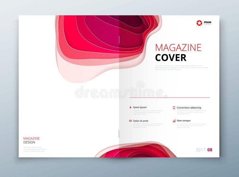 Magazine design. Paper carve abstract cover for brochure flyer magazine or catalog design. Concept in pink colors for. Magazine layout vector illustration