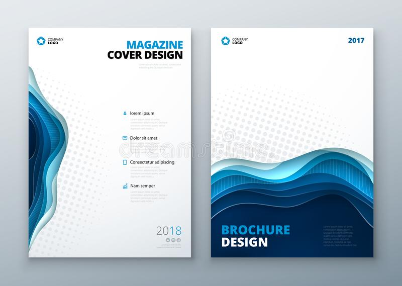 Magazine design template. Paper carve abstract cover for brochure flyer magazine annual report or catalog design stock illustration