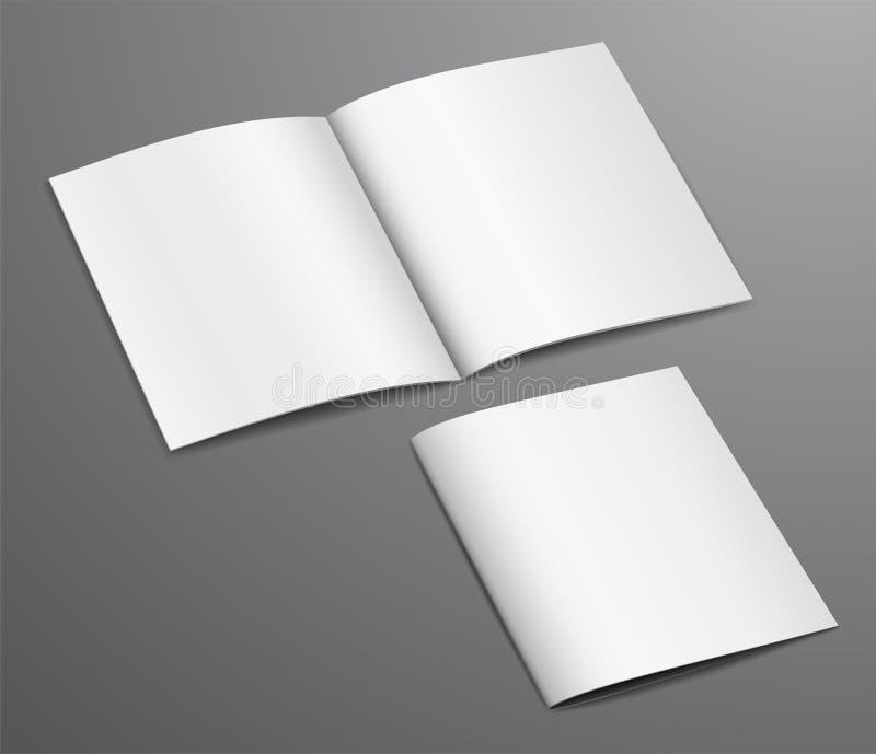 Magazine fermée et ouverte de blanc vide de brochure illustration stock