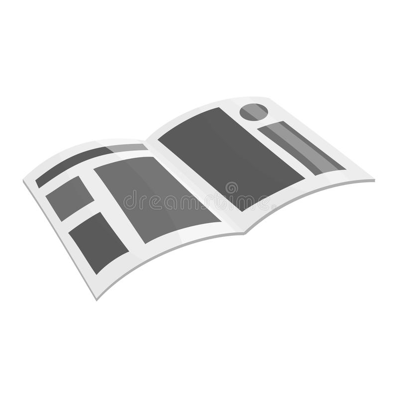 Magazine icon, black monochrome style. Magazine with place for advertising icon in black monochrome style isolated on white background illustration stock illustration