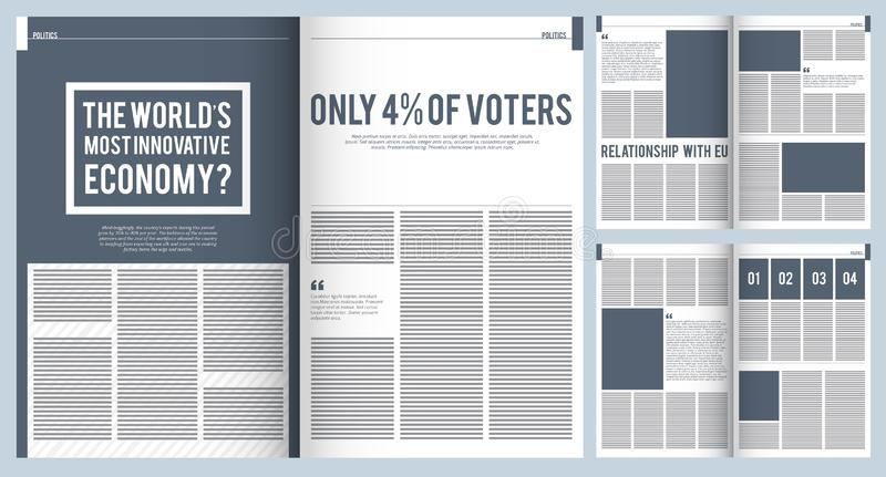 Magazine layout. Mockup template of modern magazine advertisement brochure cover design with place for text and photos. Vector project. Illustration of news stock illustration