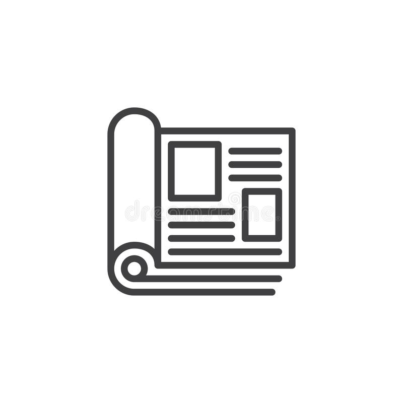 Magazine pages outline icon. Linear style sign for mobile concept and web design. Open magazine with rolled pages simple line vector icon. Symbol, logo vector illustration
