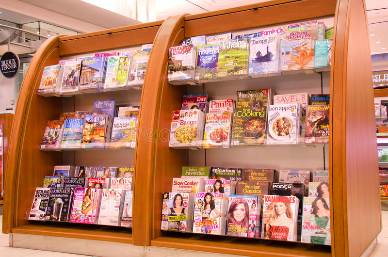 Magazine Rack At Tampa International Airport Editorial Image