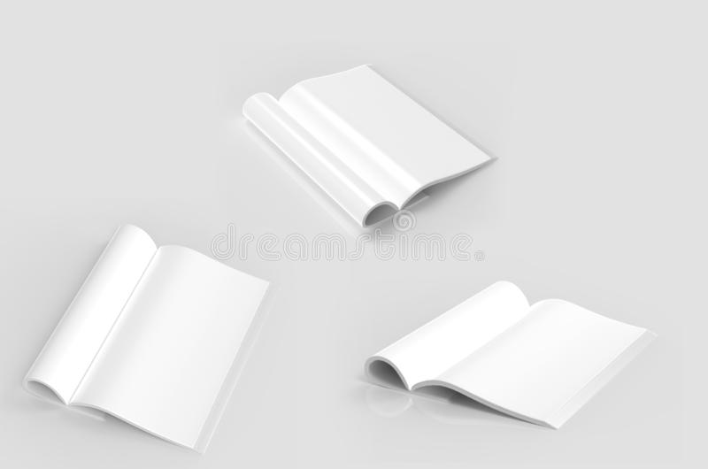 Magazine with rolled white pages. Magazine with rolled white paper pages isolated on grey background. blank book, catalogue or brochure with folded sheets mock stock illustration