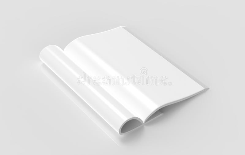 Magazine with rolled white pages. Magazine with rolled white paper pages isolated on grey background. blank book, catalogue or brochure with folded sheets mock vector illustration