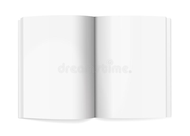 Magazine Spread Mockup Template Realistic Vector. Magazine spread mockup isolated on white background. Vector illustration. Open notepad with realistic light and vector illustration