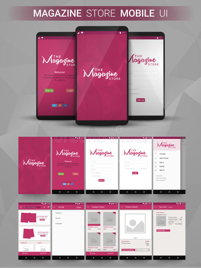 Free Magazine Store Mobile UI, UX And GUI Layput. Royalty Free Stock Images - 71957699