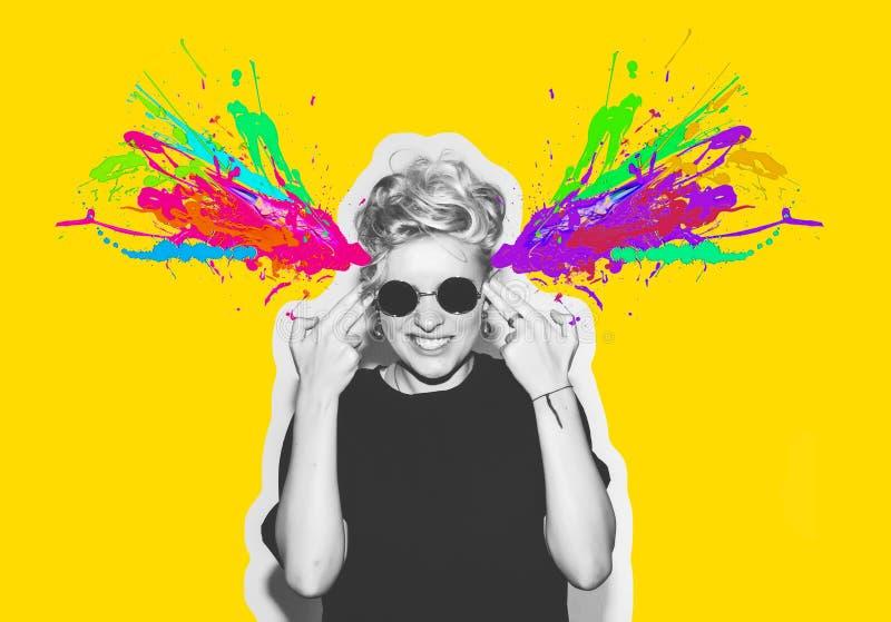 Magazine style collage headshot portrait of rocky emotional woman blow mind with finger gun gesture, brain explosion of. Magazine style collage of headshot vector illustration