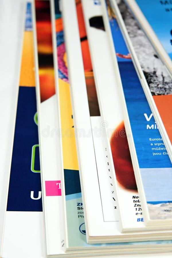 Magazines. Color magazines on white background royalty free stock images