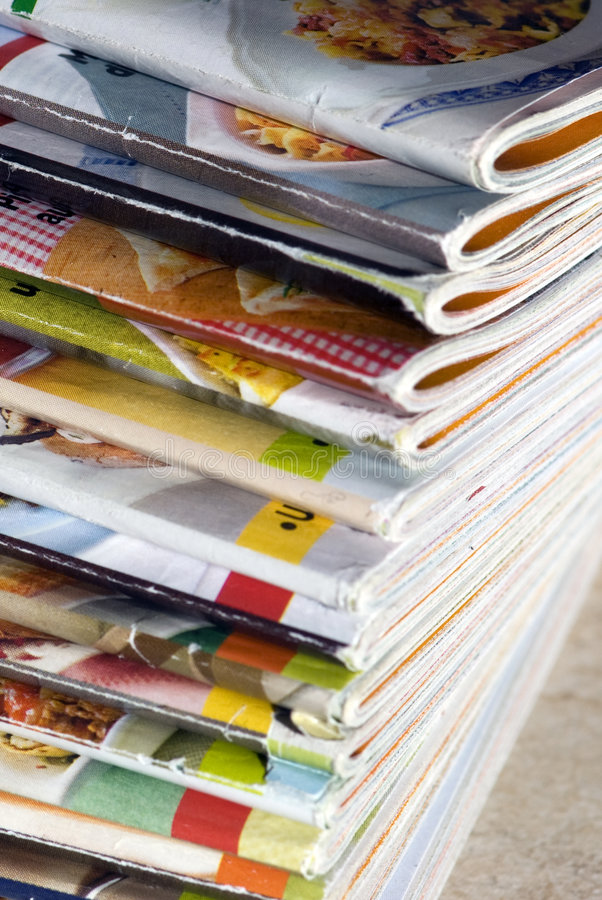 Magazines. A lot of colorful magazines stock photos