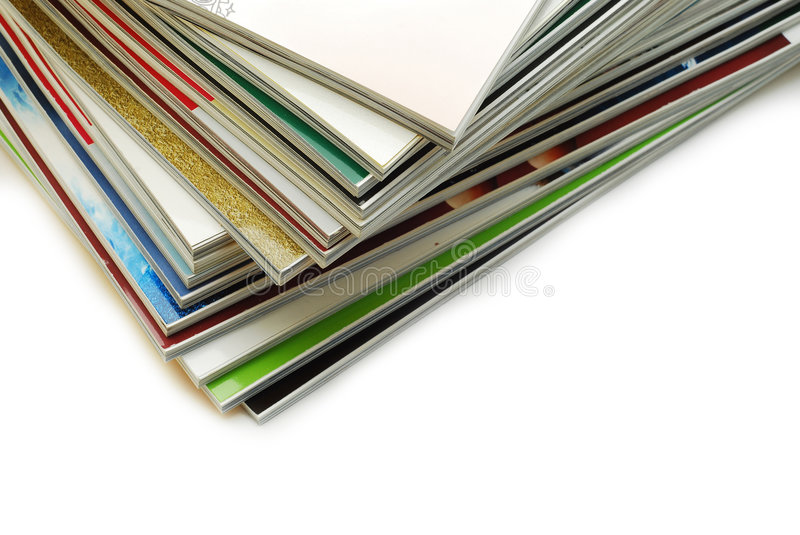 Magazines. Stack of magazines over white stock photos