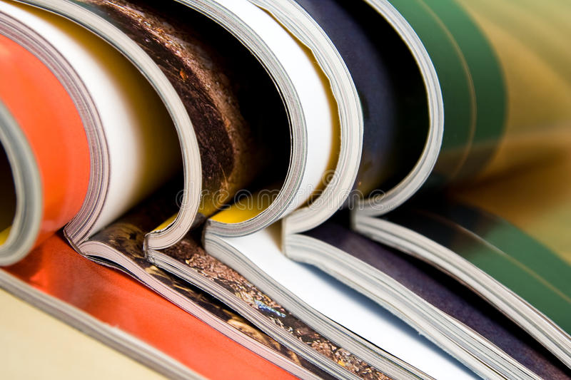 Magazines in composition royalty free stock photo