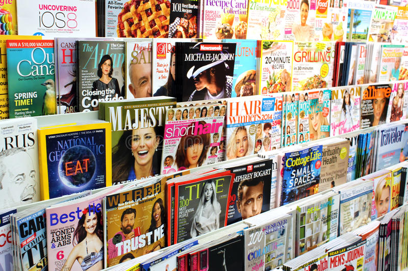 Magazines. On display in a store in Toronto, Ontario, Canada royalty free stock image