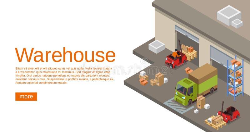 Magazynowa isometric 3D wektorowa ilustracja storehouse, logistyki i dostawa transport royalty ilustracja