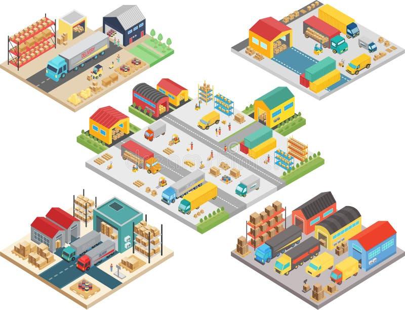 Magazynowy isometric pojęcie z pracownikami, magazynowy składowy budynek, ładuje transport, doręczeniowi wysyłek pudełka wektorow ilustracji