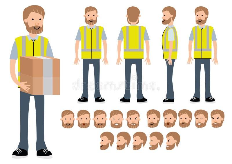Magazynowy pracownik Charakteru konstruktor dla różnych poz ilustracja wektor