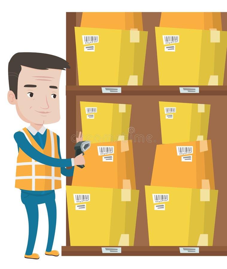 Magazynowy pracownika skanerowania barcode na pudełku ilustracji