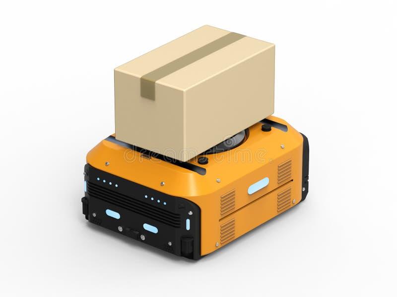 Magazynowy robot niesie pudełka ilustracja wektor