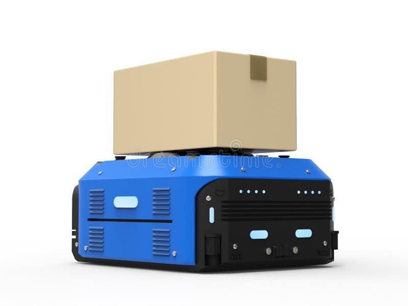 Magazynowy robot niesie pudełka royalty ilustracja