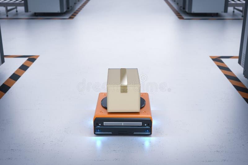 Magazynowy robot niesie pudełko ilustracja wektor