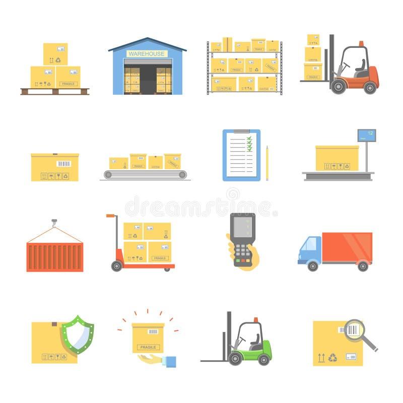 Magazynowy transportu i dostawy ikon mieszkanie ustawia odosobnioną wektorową ilustrację royalty ilustracja