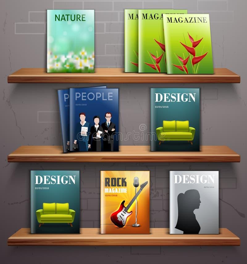 Magazyny na półkach ilustracja wektor