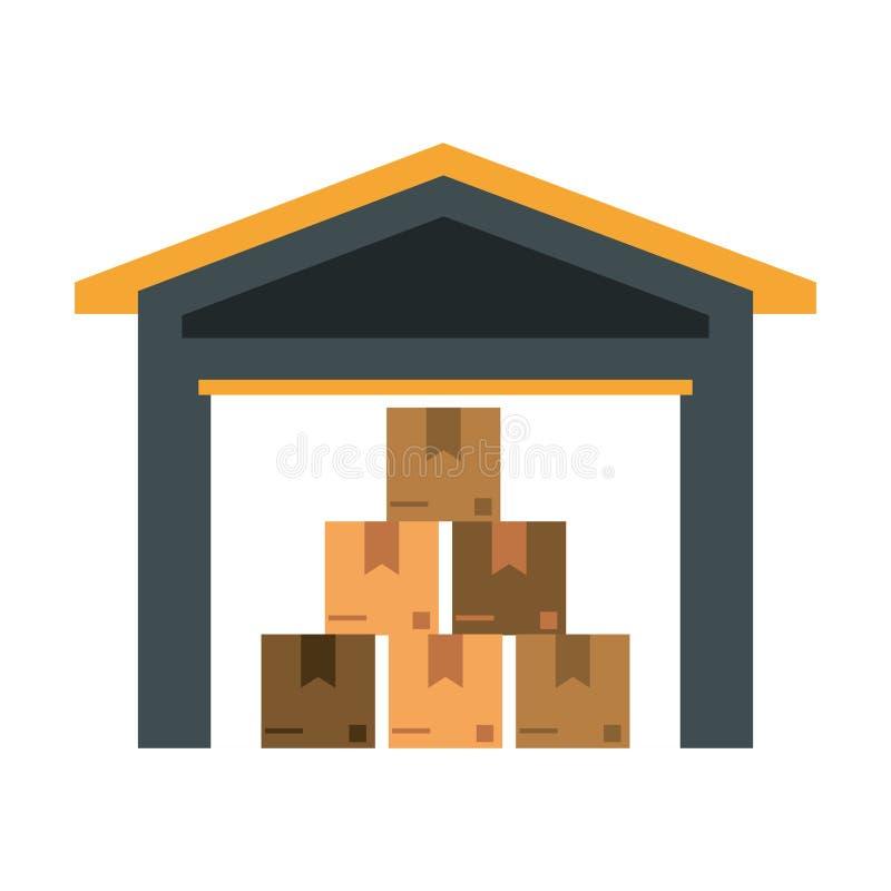 Magazzino con le scatole dentro illustrazione vettoriale