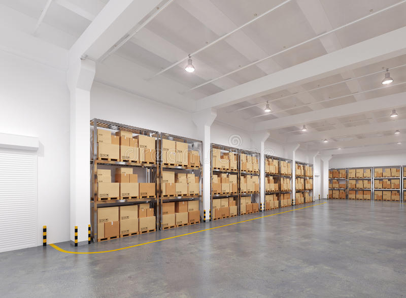 Magazzino con molti scaffali e scatole illustrazione di stock