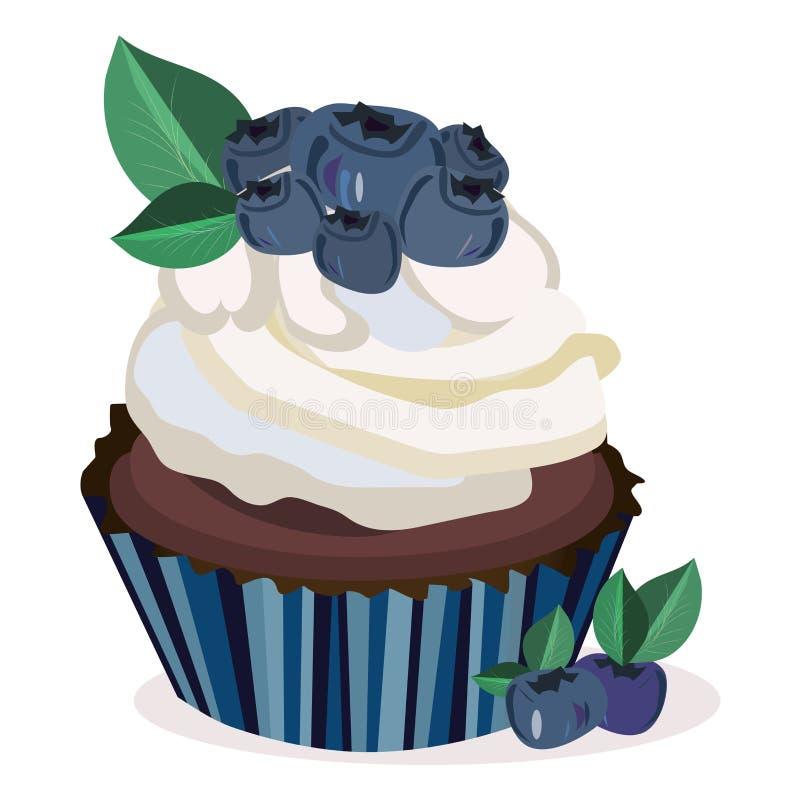 Magdalena bluberry del vector, maffin, impresión de la torta, ejemplo Elementos aislados Bayas, hojas, magdalena stock de ilustración