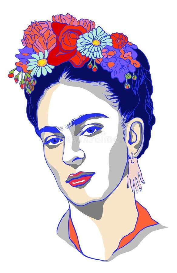 Magdalena Carmen Frida Kahlo-portret royalty-vrije illustratie