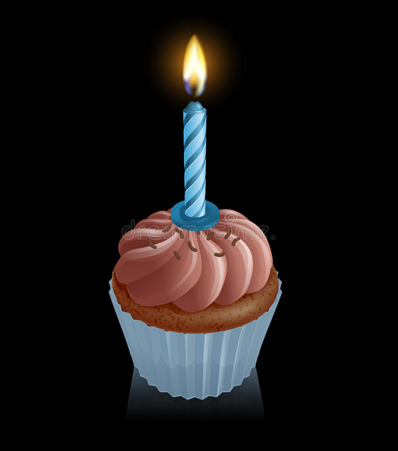 Magdalena de hadas de la torta del chocolate con la vela del cumpleaños ilustración del vector