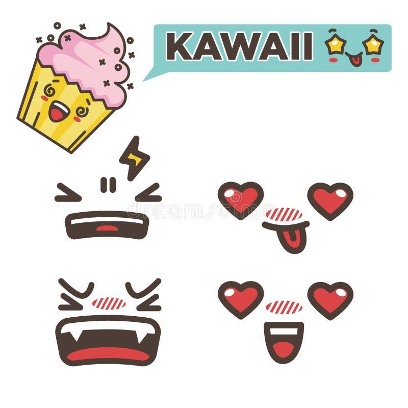 Magdalena de la fresa de la etiqueta engomada de Kawaii con emoji emocional de las caras libre illustration