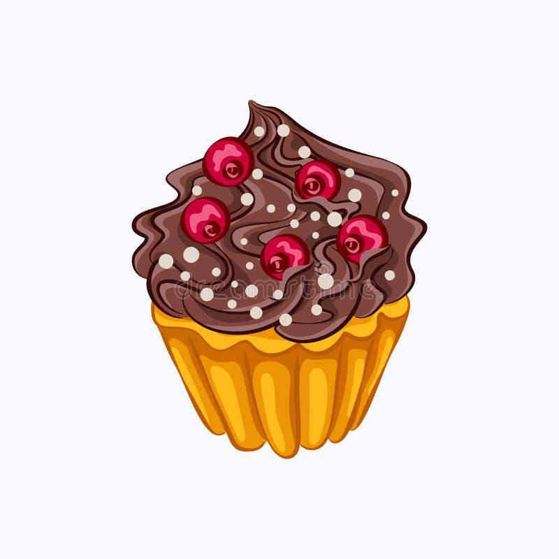 Magdalena de la vainilla con crema del chocolate y la baya roja libre illustration