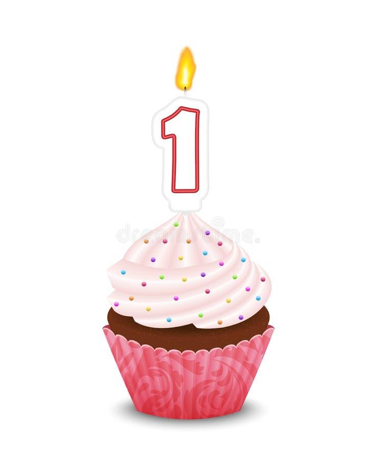 Magdalena del cumpleaños con la vela en la forma del número encendido libre illustration