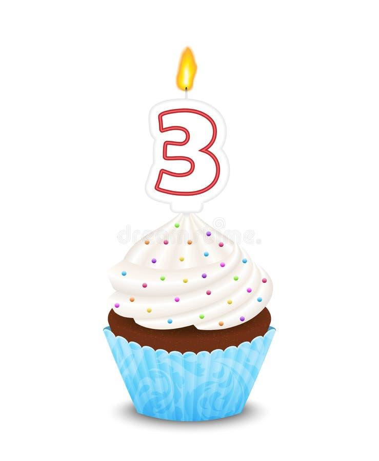 Magdalena del cumpleaños con la vela en la forma del th del número libre illustration