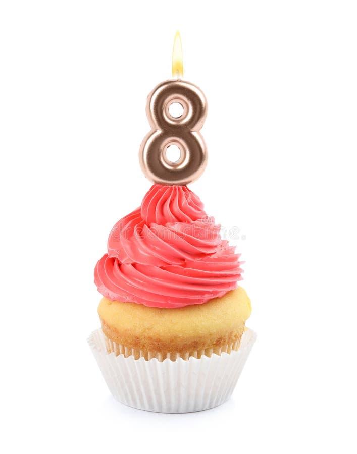 Magdalena del cumpleaños con número ocho velas en blanco fotografía de archivo