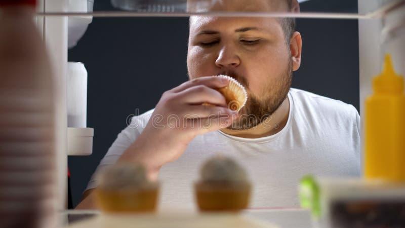 Magdalena deliciosa del hombre gordo en la noche, fracaso de la dieta, forma de vida malsana foto de archivo libre de regalías