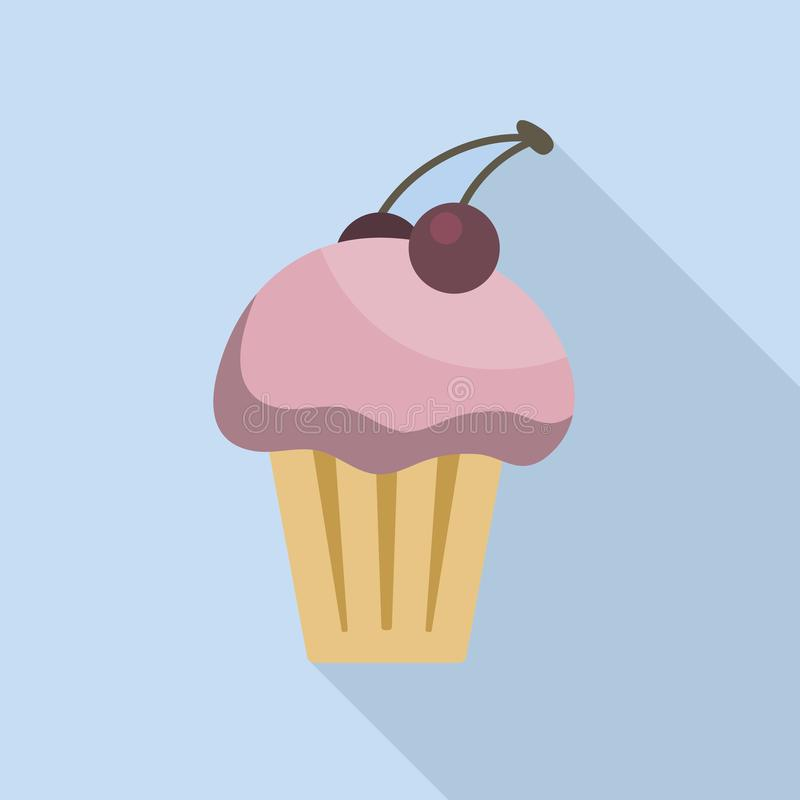 Magdalena deliciosa del postre con el ejemplo coloreado de la crema y de la cereza Helado con el icono coloreado cereza de las ba libre illustration